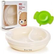 Novias Baby Infant Toddler Kids Feeding Eating Food Warming Plate Bear Tableware Dinnerware With Spoon
