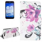 Flower Pattern Leather Case with Holder & Card Slots & Wallet for Huawei Ascend G7