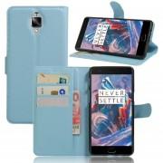 Fundas de cuero de la caja de la carpeta Cubierta del tirón con el sostenedor de tarjeta del soporte para OnePlus 3T-Azul 2016 Smartphone
