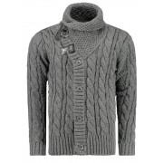 Pánský luxusní svetr vlněný 0717 s kapsami šedý - L