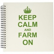 3dRose db_157716_2 Keep Calm and Farm On-Carry on Farming-Gift for Farmers-Green Fun Funny Humor Humorous-Memory Book 12 by 12-Inch