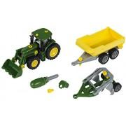 John Deere - Tractor con remolque volquete y arado (Theo Klein 3904)