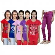 IndiWeaves Women's T-Shirts and Trouser (Size - 28) Combo Pack (Pack of 5 T-Shirt With 1 Women's Trouser)