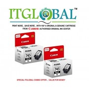 CANON PG 745 XL Black Twin Pack [Set of 2 Cartridge] -Special ITGLOBAL Combo With Scratch & Win Reward Offer - From ITGLOBAL