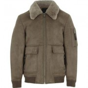 River Island Boys stone faux suede shearling collar jacket