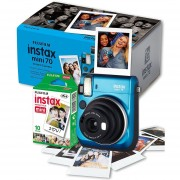 Camara Fujifilm Instax Mini 70 Instantanea Espejo Selfie - Azul + cartucho de 10