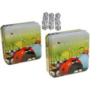 Minuscule Game In Tin _ Bundle Of 2 Identical Games _ Bonus 12 (D6) Standard White Dice With Color Pips