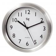 Ceas rotund de perete, D-200mm, cifre arabe, TIQ - rama aluminiu - dial alb