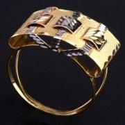 Anel de Ouro Trabalhado Com Três Cores Ouro Amarelo, Ouro Branco e Ouro Vermelho