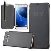Pour Samsung Galaxy J7 (2016) J710f/ Duos/ J710fn/ J710m/ J710h (Non Compatible Galaxy J7 (2015)): Coque Housse Etui De Protection Effet Miroir Clair En Plastique Rigide Livre Rabat - Noir + Stylet