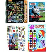 IHG Bundle of 3 activity book sets: Thomas & Friends Giant Learning Sticker Activity My Little Pony Ultimate Paint Box Book to Color and Teenage Mutant Ninja Turtles: Scratch Fantastic!