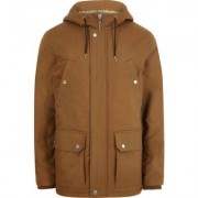River Island Big and Tall brown hooded borg lined jacket