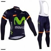 Super Hot MOVISTAR invierno térmica Fleece largo Selve manga que completa un ciclo Jersey larga de la manga de ciclo de Jersey + Accesorios de ciclismo de invierno pantalones largos