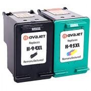 Novajet Replacement For HP 94XL 95XL Ink Cartridges C8765WN C8766WN (1 Black 1 Tri-Color)Compatible With Deskjet 460 5740 6540 9800 Officejet 100 150 6200 7210 Photosmart 2605 8150 PSC 1600 2350