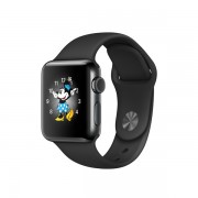 Apple Watch Series 2 con caja de acero inoxidable negro espacial de 38 mm y correa deportiva negra