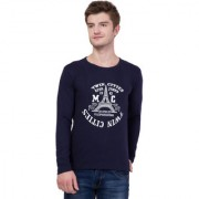 AERO Navy Blue Printed Cotton Round Neck Slim Fit Full Sleeve Men's T-Shirt