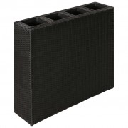 Garden Rectangle Rattan Planter Set Black
