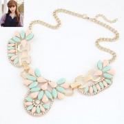 BAGISIMO Letní zlatý náhrdelník zdobený kamínky