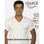 Leable 3 T-shirt uomo Leable manica corta V in cotone mercerizzato