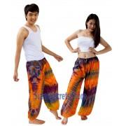 Tie Dye Hippy Trousers Orange Pattern Beach pants Unique Unisex