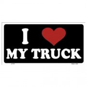 """USA Novelty Number Plate - I Love My Truck White On Black"""