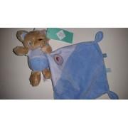 Doudou Mouchoir Ours Ourson Rocket Boy Tex Baby Carrefour Bébé Bleu Ciel Marron Peluche Éveil Enfant Comfort Blanket Comforter Soft Toys