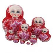 Banggood 10Pcs Flowers Painted Wooden Russian Nesting Nested Dolls Matryoshka Dolls