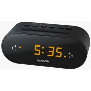 Rádiós ébresztőóra borostyán színű LED-es kijelzővel fekete SRC 1100 B