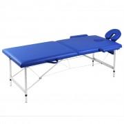 vidaXL Mesa de massagem, dobrável, com 2 zonas, estrutura aluminio