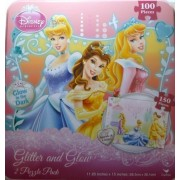 Disney Princess 2 Pack Princesses Puzzle Sparkle & Glitter Glow in the Dark Puzzles Includes Storage