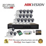 Hikvision DS-7216HQHI-F1 1080P (2MP) 16CH Turbo HD DVR 1Pcs + Hikvision DS-2CE16DOT-IRP Bullet Camera 16Pcs + 2TB HDD + Active Copper Cable + Active Power Supply Full Combo Kit.