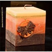 Sinaasappel-Kaneel kaars, Vierkant, H: 10 cm