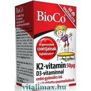 BioCo K2-vitamin 50 ug D3-vitaminnal rágótabletta gyermekeknek - 60 db