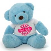 3.5 feet big blue fur face teddy bear wearing special Best Sister T-shirt