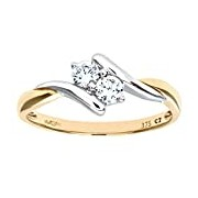 Citerna 9 ct Yellow Gold and Rhodium Plated Cublic Zirconia Ring - Size R