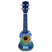 Velocity Toys Graphic Ukulele 4 Stringed Toy Guitar Lute Musical Instrument Dark Blue