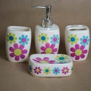 Set 4 accesorii de baie, din ceramica, design floral