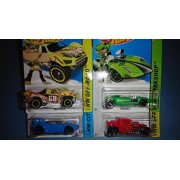 2014 Hot Wheels Team Hot Wheels Complete Set of 4! - Quick N' Sik (Blue), Baja Truck (Yellow), Bone Shaker (Red), Twin Mill (Green) by Mattel