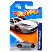 "Mattel Year 2010 Hot Wheels ""Faster Than Ever"" Series Set (6/10) 1:64 Scale Die Cast Car (146/244) Silver Color Mid Engined Sports Coupe Ferrari 458 Italia"
