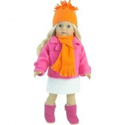 18 Inch Doll Clothes 4 Pc. Winter Doll Outfit Set Fits 18 Inch American Girl Dolls & More! (Doll Shoes & Leggings sold separately) Pink Doll Pea Coat/Jacket White Skirt Orange Hat & Scarf