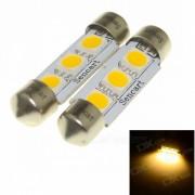 SENCART feston 39mm 2W 60LM 3500K 3 x 5054 SMD LED lumière blanche chaude lampe de lecture (12 ~ 16V / 2 PCS)
