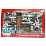 Military Adventure Play Set 30 Pieces Cars 5 Vehicles, Fighter Jet, Helicopter, Operating Base, 21 Accessories, Playmat Included