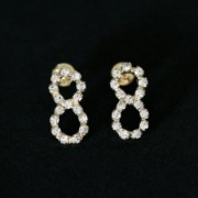 Semi Jewelry Earring Plated Gold Medium Infinite Strass Zirconia Stones