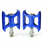 F501 Outdoor Cycling Bike / MTB Aluminum Alloy + Cr-Mo Steel Pedals Set - Blue + Silver (Pair)