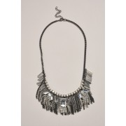 Womens Next Mixed Plated Tassel Detail Statement Necklace - Silver