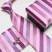 """Pink/Purple Paisley Pattern Striped Microfibre Neck Tie/Cufflinks/Pocket Square Set"""