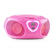 Auna Radio Boombox CD USB MP3 AM / FM Bluetooth 2.1 cu LED Culoare roz (MG3-Roadie PkBTUSB)