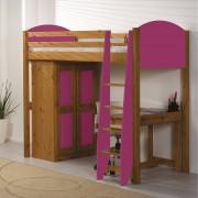 Lit mezzanine + armoire Verona 90 x 190cm coloris antique et fuchsia