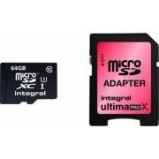 Card Memorie Integral MicroSD 64GB Clasa 10 + Adaptor SD inmsdx64g10-90/45u1