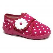 Papucei fetite, din material textil, roz, cu bulinute albe